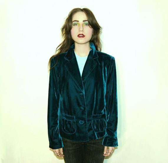 Shimmery Deep Blue Green Velvet Blazer