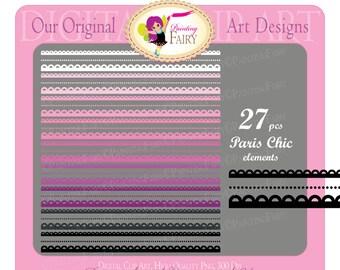 Digital clipart Paris chic elements Borders Decorative stripe Scalloped strips Clipart purple pink border clipart Scrapbooking pf00043-2