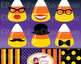 Halloween candy corn clipart Digital images Halloween party papers halloween hat mustaches glasses Polka dots scrapbook paper pack pf00044-6
