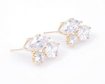 2pcs - 3 Different Cubic in Gold with 925 Sterling Sliver Post / cubic earring / 16k gold plated / silver post / 11mm x 17mm / CG013-E