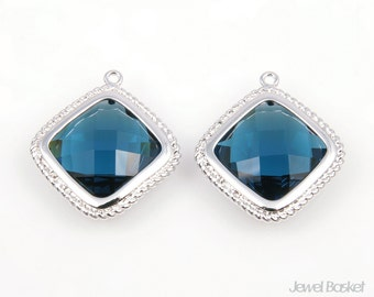 Montana Blue and Silver Framed Glass Diamond Pendent - 2pcs Montana Blue glass diamond pendant 20 x 22mm, Earrings Pendant / SMBS039-P