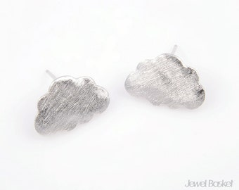 BS069-E (4pcs) / Cute Cloud Ear Post in Brush Silver / 11mm x 17mm