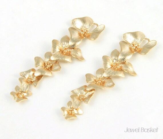 5 Orchid Flower Pendant - 2pcs 5 Orchid Flower 14x54mm Pendant, Pendant Necklace Jewelry Connector - Brass / BMG026-C