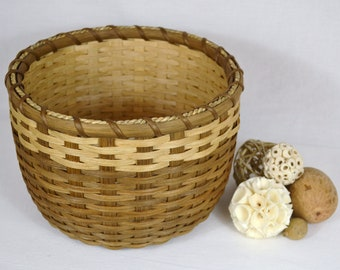 Handwoven Double Wall Round Table Basket in Shades of Beige and Brown