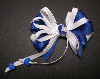 Royal Blue Hair Bow Sweetheart HEART School UNIFORM Boutique Streamers Tails Toddler Girl Grosgrain Handmade