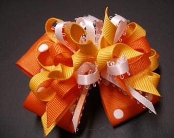 Candy Corn Korker Halloween Hair Bow Boutique Toddler Girl Orange Yellow Gold