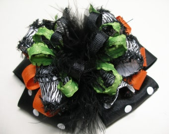 Deluxe Halloween Large Over the Top Deluxe Black Poka Dot Zebra Hair Bow Princess Marabou OTT Boutique Toddler Girl