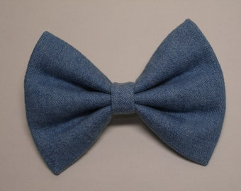 Fabric Denim Hair Bow Simple Traditional Basic Classic Style Toddler Girl