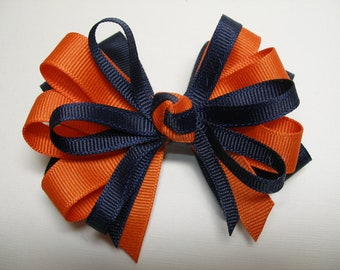 Navy Blue Auburn Tiger Orange Bow Back to School UNIFORM Boutique Toddler Girl Grosgrain Handmade Team Spirit Wear