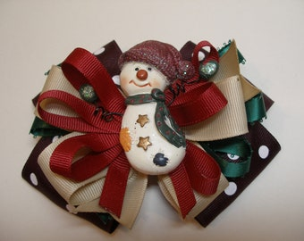 Large Country Snowman One of a Kind Hair Bow Christmas Boutique Toddler Girl