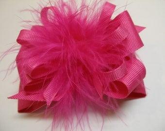 Princess Hair Bow Fuchsia Hot Pink Marabou Posh Diva Girl OTT Boutique Pageant Wear