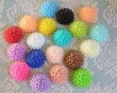 38pcs Small Pom Pom Flower Cabochon - Assorted Colours - Australia