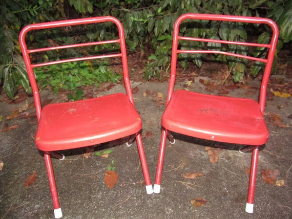 Vintage set child s red metal folding chairs