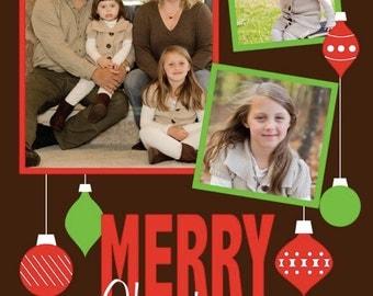 Retro Ornaments Merry Christmas Photo Card (3 photos)