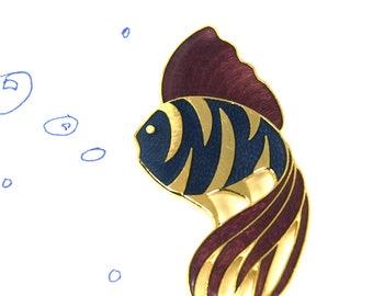 Fish Pin Purple and Blue Betta Brooch
