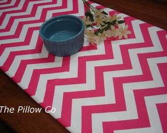 "Chevron Pink Table Runner - Wedding - 13"" X 72"" Table Cloth - Decorative  Zig Zag  Table Runner    "" Chevron  """