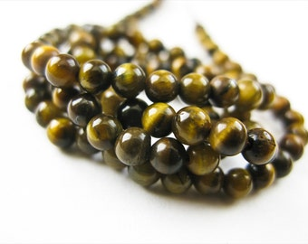 Tiger Eye Round Beads, 4mm, Smooth, Rounds, Full Strand, 15.5 inches
