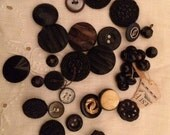 39 Assorted Black Vintage Buttons