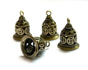 4 Antique Bronze Bell Charms - 21-15-1