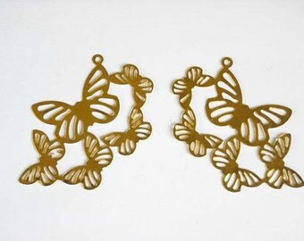 2 Brass Butterfly Charms - 21-45-5