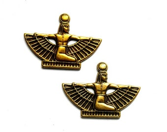 2 Antique Brass Winged Egyptian Stampings - 22-19-3