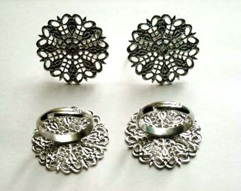 4 Silver Plated Filigree Flower Ring Blanks - 27-8-1