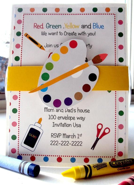 Items similar to art birthday invitation art birthday for Arts and crafts birthday party