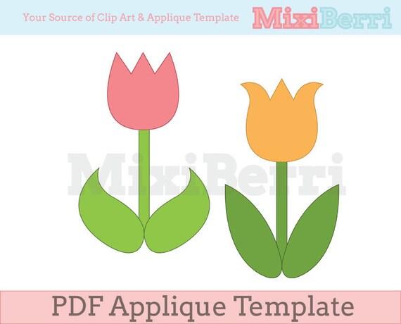 Applique Vorlage Tulip Pdf 2 Template Designs In 1 Datei