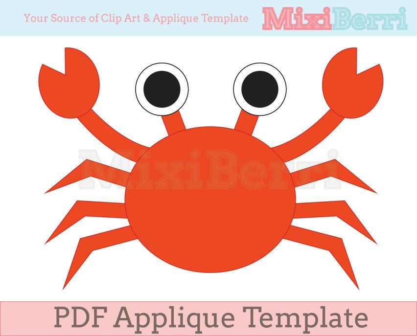 Crab Applique Template Pdf Instant Download Quilt Applique