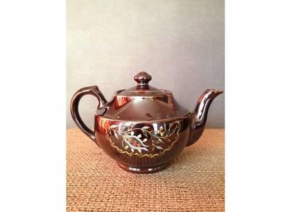 Vintage Handpainted Brown Betty Teapot Japan
