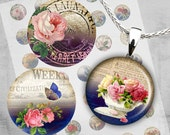 1 inch Circles - Digital Collage Sheet - Printable Downloads - Best for jewelry pendants, bottle caps - ARTISTIC FLOWERS