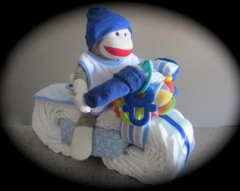 Motorcycle Diaper Cake baby boy shower gift