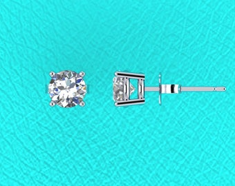 14K white gold 0.75ct Diamond stud errings