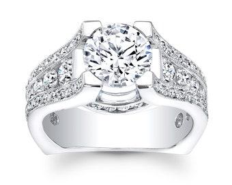 Ladies Platinum pave diamond engagement ring 0.90 ctw G-VS2 diamonds with 2ct Round White Sapphire Center