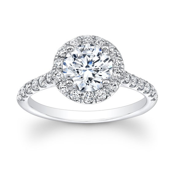 Ladies 18kt white gold diamond engagement ring with round diamond halo top  0.50 ctw with 1.50