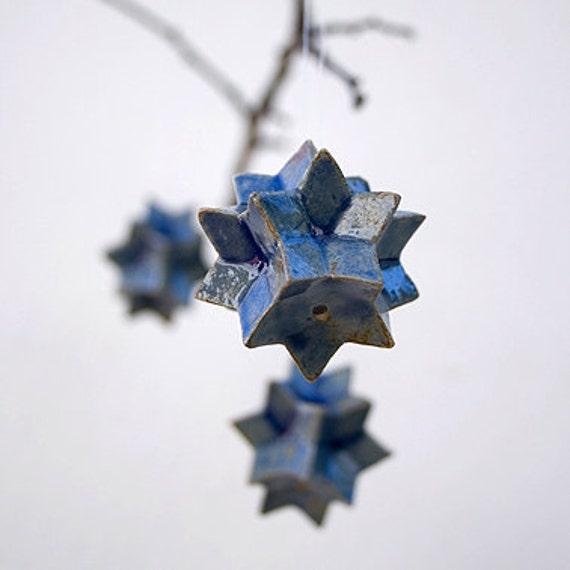 SALE. Little Cobalt Blue Star. Stoneware Handmade Hanging. Star Hanging. Home Decor. Star Garden Decor. Garden Hanging. Blue Stars Decor.