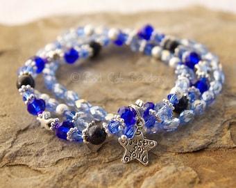 Just for You Blue Beaded Stretch Stack Bracelet Light Blue Topaz, Cobalt Blue, Silver, Silver Star Charm