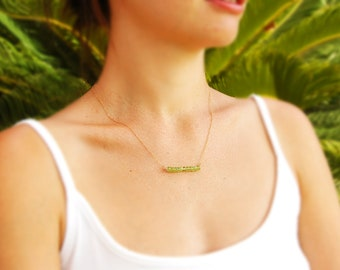Gold necklace, 14k gold filled, peridot necklace, stone necklace, lime green necklace, gold filled necklace, gemstone necklace, gift for her