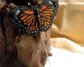 Majestic Monarch Bead Embroidered Butterfly Stick Pin / Brooch
