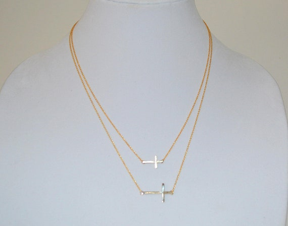 SALE- Double Sideway Cross Necklace- CELEBRITY INSPIRED- Cross Gold Necklace- Ships Now