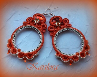 Orange Long Soutache Earrings