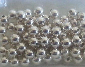 50 Pieces Sterling Silver 4mm Smooth Round Beads MADE IN USA