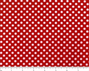 Lots of Dots - medium white polka dots on red cotton - YARD