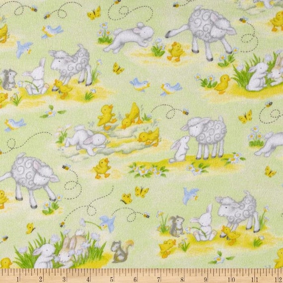 Buttercup babies flannel nursery fabric green lamb rabbit for Nursery fabric uk