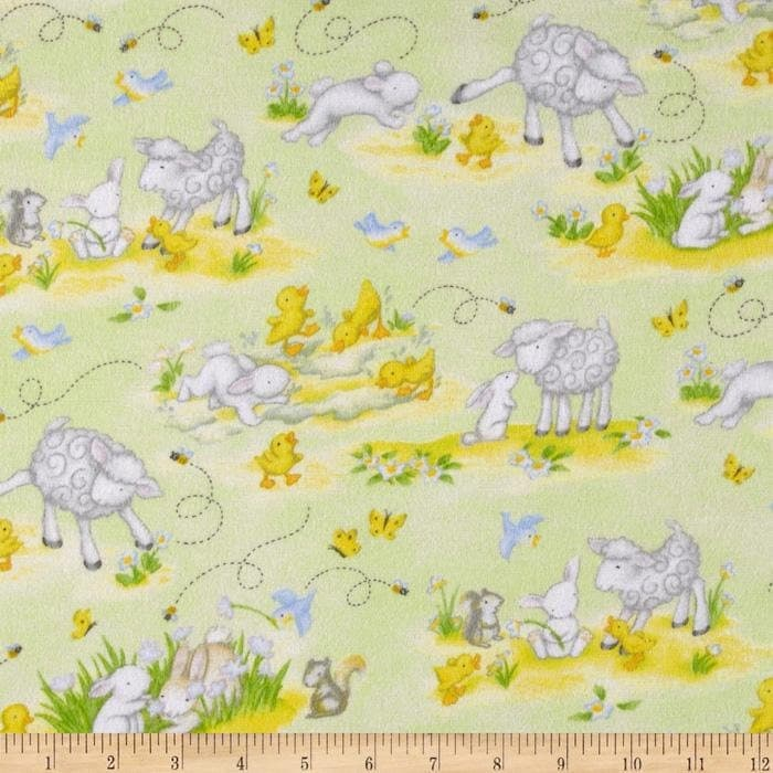 Buttercup babies flannel nursery fabric green lamb rabbit for Nursery fabric