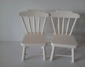 dolls house wooden chairs painted in cream miniature 1 12th  furniture