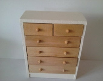 Dolls house chest of drawers hand painted in colourer of your choice