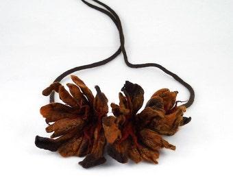 Brown Felted Collar felt Necklace Flower art jewerly nunofelt Nuno felt collar Art deco silk Fiber Art boho