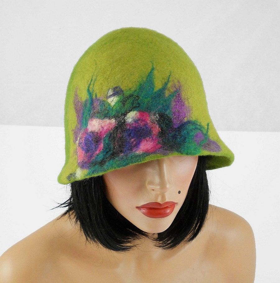 Green Felted Hat Cloche Hat live Flapper Hat Felt Hat wool hat