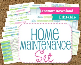 EDITABLE and INSTANT DOWNLOAD Home Maintenance Organizers-Inventories-22 documents